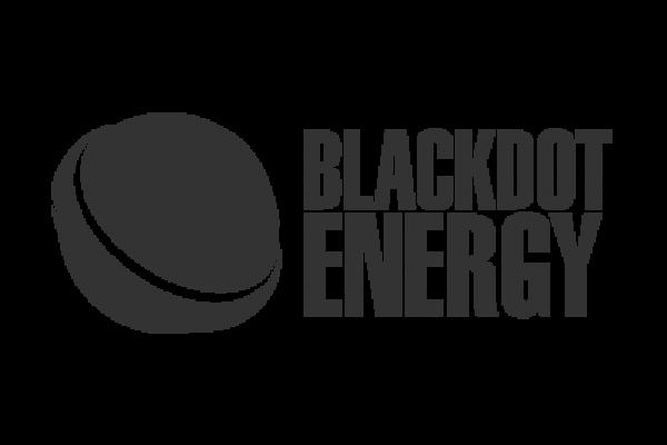 Renewable Energy Company. Blackdot Energy Logo in grey