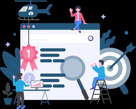 Search Engine Optimisation - Isometric Graphic - e marketing, ecommerce website, website layout, website creation. Johannesburg Web Design