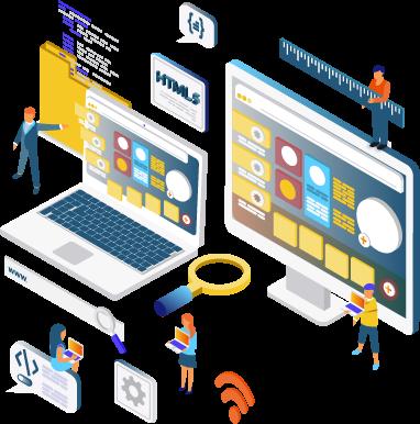 Website Maintenance - Isometric Graphic - e marketing, ecommerce website, website layout, website creation